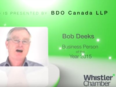The Whistler Excellence Awards celebrate the best of our community. The 2015 Business Person of the Year Award presented by BDO Canada LLP was awarded to Bob Deeks, owner of RDC Fine Homes for having a major impact on the landscape of the local business community, being an exemplary leader, and exhibiting vision and passion while continuously giving back by supporting community initiatives and projects.